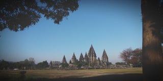 La vista dal tempio di Prambanan fotografia stock