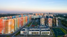 La vista dall'altezza a zona residenziale Fotografie Stock Libere da Diritti