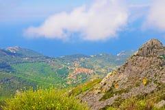La vista dall'più alta montagna dell'isola di Elba Immagine Stock