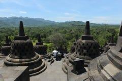 La vista dalla cima del tempio di Borobudur Fotografia Stock
