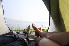 La vista dalla tenda fotografie stock