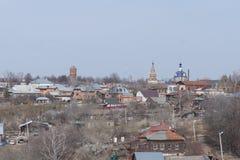 La vista dalla vista dell'occhio del ` s dell'uccello della città Zarajsk Fotografie Stock Libere da Diritti