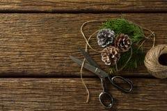 La vista de arriba de los conos del pino con scissor y rosca el carrete Foto de archivo libre de regalías