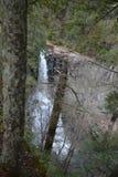 La vista de la cascada penosa grande en las calas de la caída de Tennessee baja parque de estado a través del bosque fotografía de archivo libre de regalías