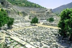 La vista de la ciudad antigua de Ephesus Imágenes de archivo libres de regalías