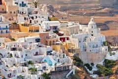La vista de la ciudad de Fira, Grecia fotografía de archivo