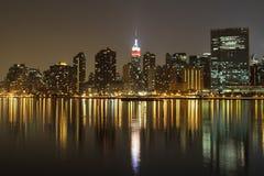 La vista de la noche NYC Imagen de archivo libre de regalías