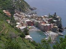 La vista de Manarola, Cinque Terre, Italia fotografía de archivo