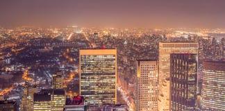 La vista de Nueva York Manhattan durante horas de la puesta del sol Imagenes de archivo