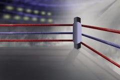 La vista de un ring de boxeo regular rodeado por rojo y púrpura ropes el spotlit Imagenes de archivo