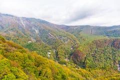 La vista del bosque en la estación del otoño en el teleférico en Akechidaira plat fotografía de archivo