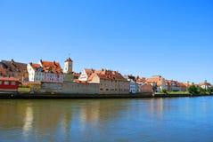 La vista del centro storico di Regensburg immagine stock