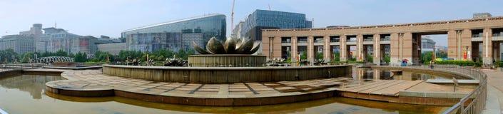 A la vista del cuadrado de Quancheng en Jinan, China foto de archivo libre de regalías