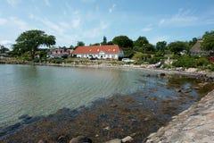 La vista del Danese tipico alloggia Fionia Danimarca Immagini Stock Libere da Diritti