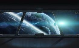 La vista del espacio exterior de la ventana de una estación espacial 3D rinde Fotografía de archivo libre de regalías