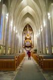 La vista del interiour della chiesa dell'Islanda a Reykjavik Immagine Stock