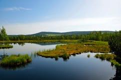 La vista del lago con le isole Fotografie Stock