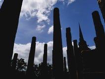 La vista del silluate del parco storico della Tailandia Fotografia Stock