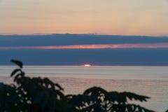 La vista del sol que entra el mar en el horizonte con las nubes a través de la rama de árbol Imágenes de archivo libres de regalías