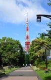La vista del tempio di Zojo-ji e Tokyo si elevano, Tokyo, Giappone Immagine Stock Libera da Diritti