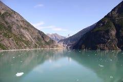 La vista del Tracy munisce il fiordo Alaska il settembre 2009 Fotografie Stock Libere da Diritti