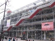 La vista dell'entrata del Centre Pompidou di Le, Parigi immagini stock libere da diritti