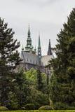 La vista della cattedrale metropolitana dei san Vitus, Wenceslaus e Adalbert è una cattedrale metropolitana cattolica a Praga Immagini Stock