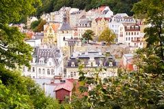 La vista della città di Karlovy varia Fotografie Stock