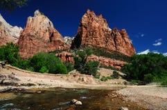 La vista della giunzione del canyon a Zion Immagine Stock Libera da Diritti