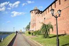 La vista della parete, della torre e del fiume immagine stock