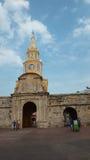 La vista della torre di orologio pubblica è il simbolo rappresentativo di Cartagine de Indias Fotografie Stock Libere da Diritti