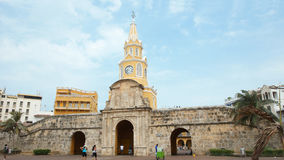 La vista della torre di orologio pubblica è il simbolo rappresentativo di Cartagine de Indias Immagine Stock Libera da Diritti