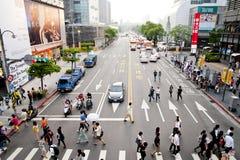 La vista della vista della via di Taipeh Fotografia Stock Libera da Diritti