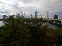La vista delle costruzioni sull'isola fotografia stock libera da diritti