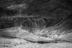 La vista di alluna, Lamayuru, Ladakh, il Jammu e Kashmir, India Fotografie Stock