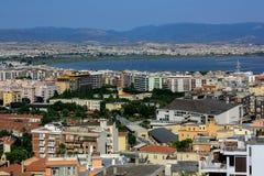 La vista di Cagliari, la capitale della Sardegna, Italia Fotografia Stock