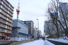 La vista di inverno del centro urbano a Sapporo, Hokkaido, Giappone 2018 fotografie stock libere da diritti