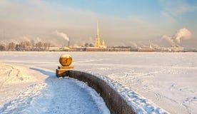La vista di inverno della fortezza di Paul e di Peter, Fotografia Stock