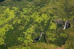 La vista di Manawaiopuna cade da Jurassic Park Fotografia Stock Libera da Diritti