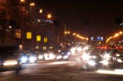 La vista di notte del viale rosso fotografie stock