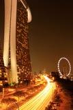 La vista di notte della baia del porticciolo insabbia Singapore Fotografia Stock Libera da Diritti