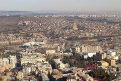 La vista di Tbilisi nell'inverno, Georgia Fotografia Stock