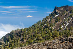 La vista di Teide dai vulcani dirige la La Palma, Spagna Immagini Stock Libere da Diritti