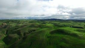 La vista fertile meravigliosa del paesaggio dei campi e delle colline verdi ha sparato da sopra stock footage