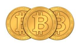 La vista frontal de 3D rendido grabó Bitcoins de oro Imagen de archivo