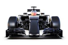 La vista frontale della macchina da corsa nera su un bianco ha isolato il fondo Rappresentazione generica 3d Immagine Stock