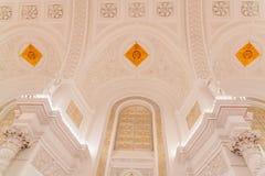 La vista interior del pasillo de Georgievsky en el palacio magnífico del Kremlin en Moscú Foto de archivo libre de regalías