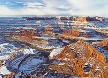Gooseneck del fiume Colorado nell'inverno fotografia stock libera da diritti