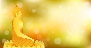 La vista lateral de Buda del phra del monje que se sienta en la base del loto para ruega el lanzamiento compuesto concentración F stock de ilustración