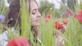 La vista lateral de la muchacha bonita en campo de la amapola rasga de los pétalos de un primer de la flor de la amapola Conexi?n almacen de video